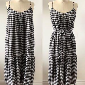 LUCKY BRAND Black White Gingham Maxi Dress Size XL